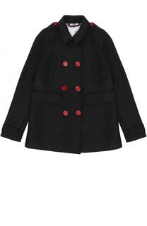 Двубортное пальто с контрастными пуговицами Burberry