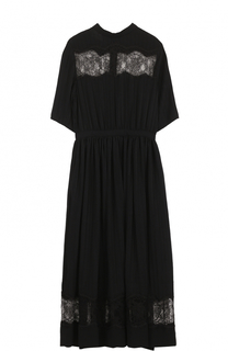 Шелковое платье-миди с кружевными вставками Rochas