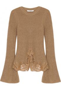 Вязаный пуловер с расклешенными рукавами и кружевной отделкой Givenchy