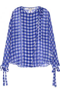 Полупрозрачная шелковая блуза с декоративной отделкой Diane Von Furstenberg