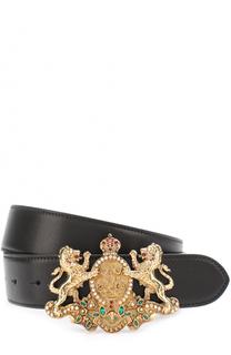 Кожаный ремень с фигурной пряжкой с декором Ralph Lauren