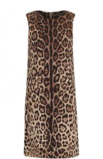 Шелковое мини-платье с леопардовым принтом Dolce & Gabbana
