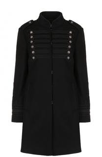 Приталенное шерстяное пальто с декоративной отделкой REDVALENTINO