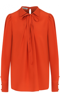 Шелковая блуза с бантом Valentino