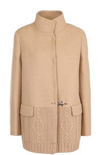 Шерстяное пальто с фактурной отделкой Fay