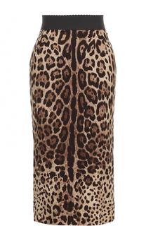 Шелковая юбка-миди с леопардовым принтом Dolce & Gabbana