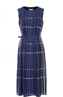 Шелковое платье-миди с принтом Oscar de la Renta