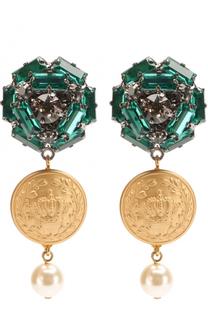 Серьги-клипсы с декоративными элементами и кристаллами Swarovski Dolce & Gabbana