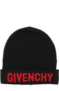Вязаная шапка из шерсти с логотипом бренда Givenchy
