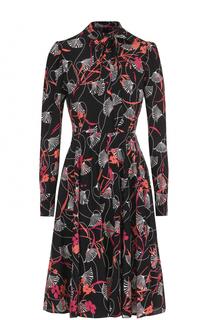 Шелковое платье-миди с принтом Valentino