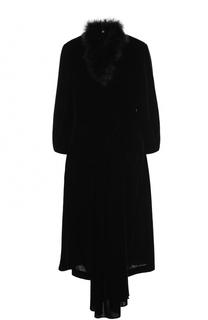 Платье ассиметричного кроя с меховой отделкой Simone Rocha