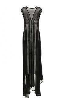 Шелковое платье с полупрозрачной вставкой Ann Demeulemeester