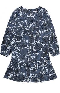 Шелковое мини-платье с оборкой и принтом Burberry