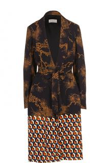 Приталенное пальто с принтом и поясом Dries Van Noten