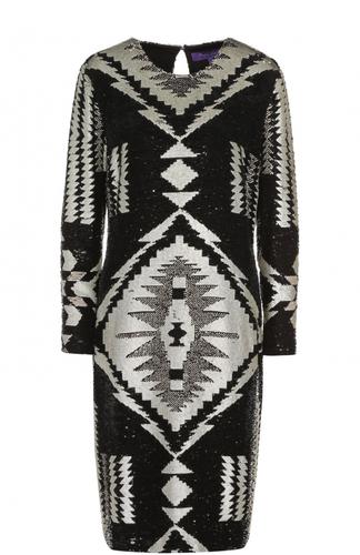 Шелковое платье-миди с вышивкой пайетками Ralph Lauren