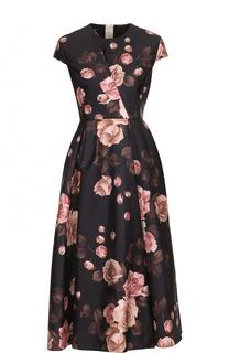 Приталенное платье-миди с принтом Rochas