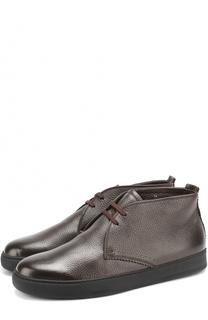 Кожаные ботинки на шнуровке с внутренней меховой отделкой H`D`S`N Baracco