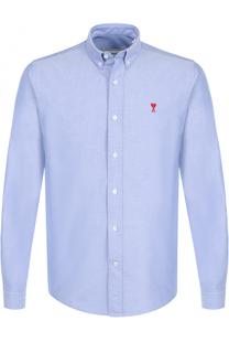 Хлопковая рубашка с воротником button down Ami