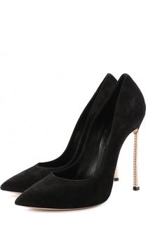 Замшевые туфли на декорированной шпильке Blade Casadei