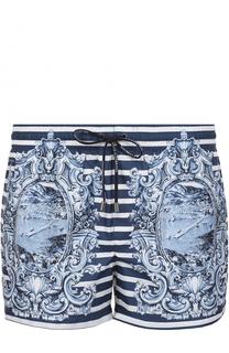 Плавки-шорты в контрастную полоску с принтом Dolce & Gabbana