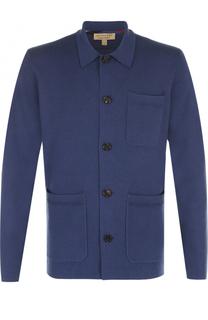 Однобортный пиджак из смеси хлопка и кашемира Burberry