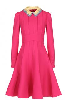 Приталенное платье-миди из смеси шерсти и шелка Valentino