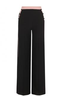 Шелковые брюки прямого кроя с лампасами Valentino