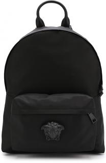Текстильный рюкзак с внешним карманом на молнии Versace