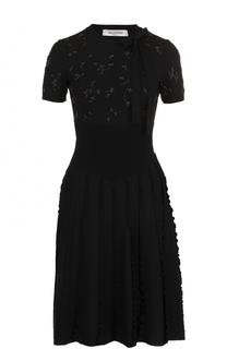 Приталенное платье-миди фактурной вязки Valentino