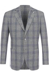 Однобортный пиджак в клетку из смеси шерсти и шелка L.B.M. 1911