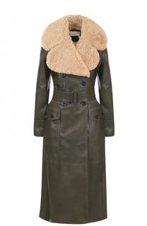 Двубортное кожаное пальто с меховой отделкой и поясом Chloé