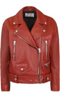 Кожаная куртка с косой молнией Acne Studios