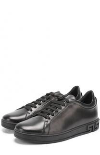 Кожаные кеды на шнуровке Versace