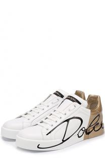 Кожаные кеды Portofino с принтом Dolce & Gabbana