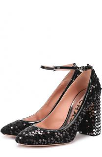 Туфли с пайетками на устойчивом каблуке Rochas