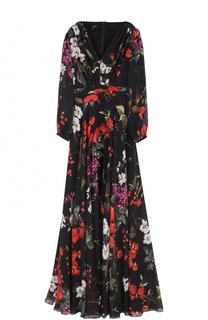 Шелковое платье-макси с цветочным принтом Escada