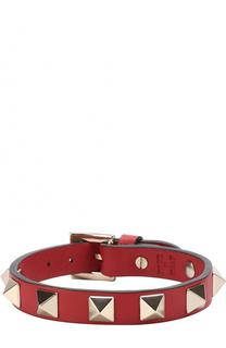 Кожаный браслет Rockstud с металлическими заклепками Valentino