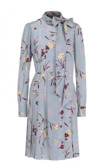 Шелковое платье-миди с принтом и бантом Valentino