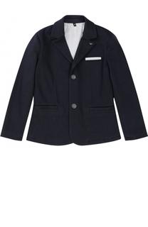 Однобортный пиджак джерси с логотипом бренда Giorgio Armani