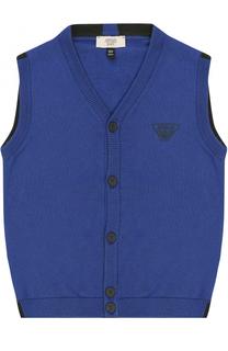 Жилет из смеси хлопка и шерсти с логотипом бренда Giorgio Armani