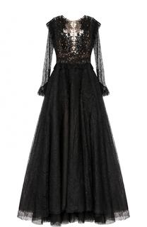 Платье-макси с кружевной отделкой и вышивкой Zuhair Murad