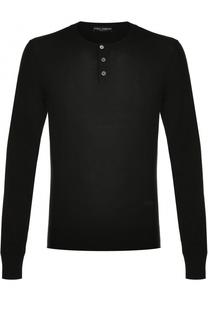 Пуловер из шерсти тонкой вязки с воротником на пуговицах Dolce & Gabbana