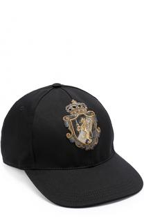 Бейсболка из смеси хлопка и шелка с вышивкой Dolce & Gabbana