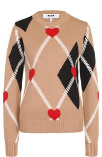 Вязаный пуловер с принтом MSGM