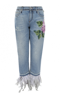 Укороченные джинсы в вышивкой и отделкой пером Dolce & Gabbana