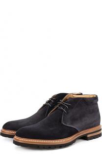 Замшевые ботинки на шнуровке Kiton