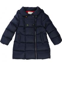 Пуховое пальто с оборками и капюшоном Gucci