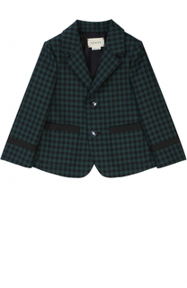 Шерстяной пиджак клетку с декоративными пуговицами Gucci