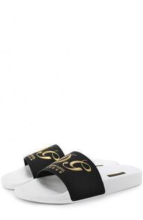 Резиновые шлепанцы с кожаной отделкой Dolce & Gabbana