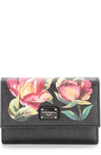 Кожаное портмоне с цветочным принтом Dolce & Gabbana